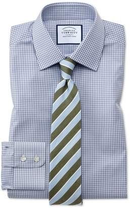 Charles Tyrwhitt Slim Fit Small Gingham Grey Cotton Dress Shirt French Cuff Size 14.5/33