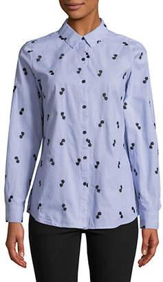 Karl Lagerfeld PARIS Sunglass Embroidered Cotton Button-Down Shirt