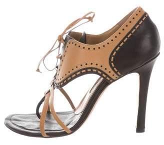 Manolo Blahnik Leather Lace-Up Sandals