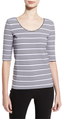 Armani Collezioni Striped Half-Sleeve Tee, Lilac/Black $295 thestylecure.com