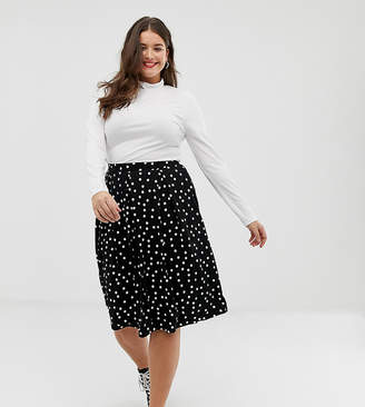 Asos DESIGN Curve midi skirt with box pleats in polka dot