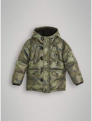 Burberry Camouflage Print Down-filled Puffer Jacket , Size: 4Y