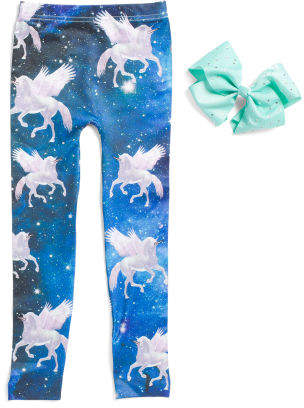 Girls Unicorn Leggings With Matching Bow