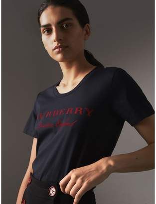 Burberry Printed Cotton T-shirt , Size: M, Blue
