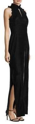 Shoshanna Ruffled Velvet Gown