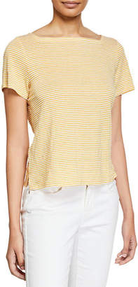 Eileen Fisher Square-Neck Short-Sleeve Striped Jersey Linen Tee, Petite
