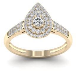 Imperial Star 1/2ct TDW 10k Yellow Gold Diamond Pear Shape Halo Bridal Set