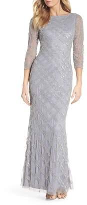 Adrianna Papell Crosshatch Beaded Gown (Regular & Petite)