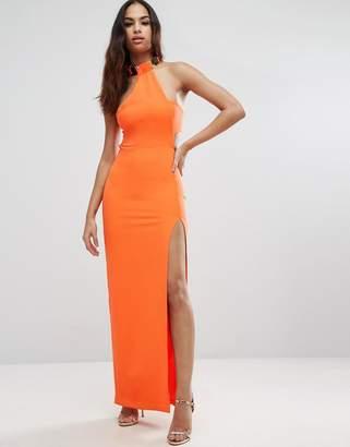 Asos Design Gold Bar Halter Maxi Dress