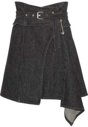 Isabel Marant - Eydie Asymmetric Wrap-effect Denim Skirt - Black $430 thestylecure.com