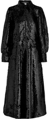 Ganni Sonora Sequined Crepe Midi Dress - Black
