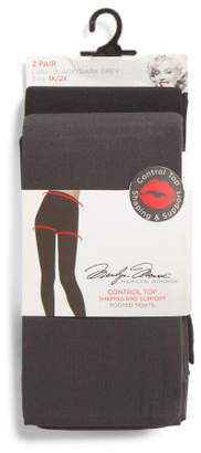 Plus 2pk Footed Control Top Tights