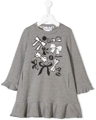 Simonetta printed frill trim sweater dress