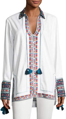 Neiman Marcus Talitha Collection Embroidered Cotton Button-Front Tunic, Ivory