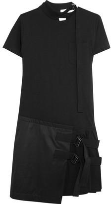Sacai - Asymmetric Pleated Cotton-jersey And Twill Mini Dress - Black $445 thestylecure.com