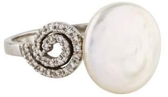 Yvel 18K Coin Pearl & Diamond Ring