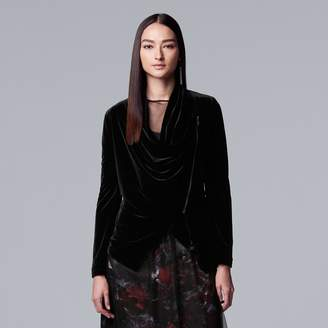 Vera Wang Women's Simply Vera Asymmetrical Velvet Jacket
