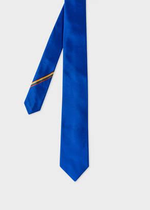 Paul Smith Men's Cobalt Blue Narrow Silk Tie With 'Artist Stripe' Detail