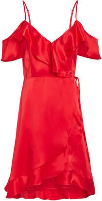 Nightcap Clothing Silk Cold Shoulder Wrap Dress