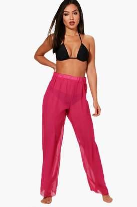 boohoo Maya Wide Leg Beach Trouser