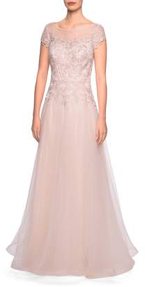 La Femme Tulle A-Line Evening Dress