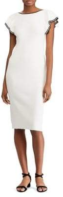 Lauren Ralph Lauren Two-Tone Tiered Flutter-Sleeve Sheath Dress