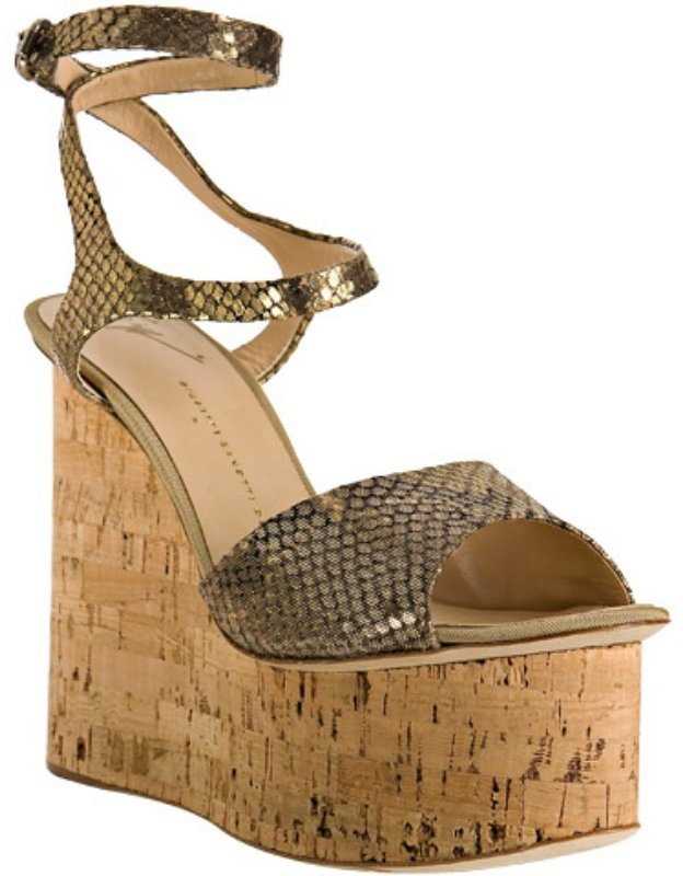 Giuseppe Zanotti gold diamond cork platform wedges