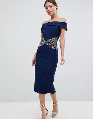 Little Mistress Off The Shoulder Dress With Embroidered Waist