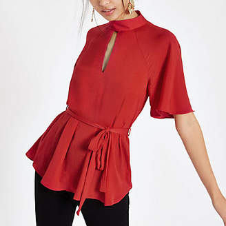 River Island Womens Red short sleeve tie front blouse