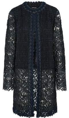 Elie Tahari Jaya Chain-Trimmed Jacquard-Paneled Guipure Lace Jacket