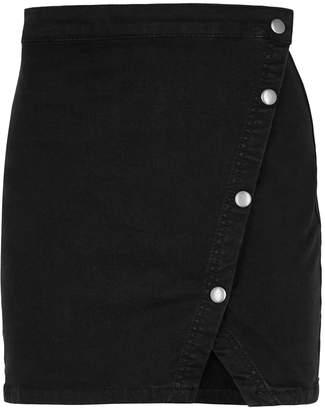 Free People Black Stretch-denim Mini Skirt