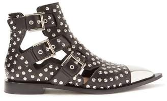 Alexander McQueen Studded Leather Boots - Womens - Black Silver