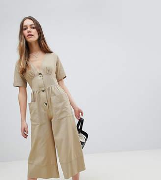 Asos DESIGN Petite Cotton Tea Jumpsuit With Horn Button Detail