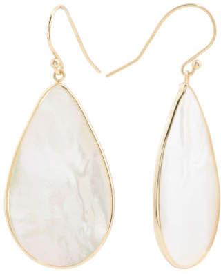18k Gold Plated 925 Mother Of Pearl Teardrop Earrings