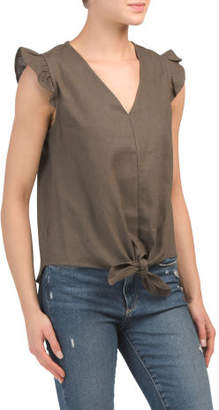 Juniors Linen Ruffle Sleeveless V-neck Top