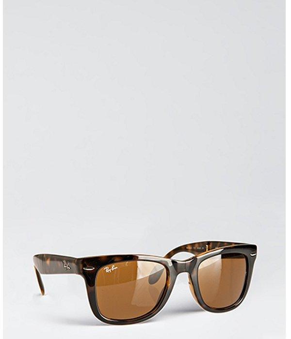 Ray-Ban brown plastic 'Folding Wayfarer' sunglasses