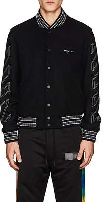 Off-White Men's 3D-Striped Wool-Blend Varsity Jacket