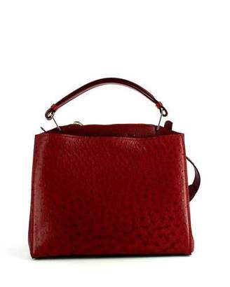 VBH Seven Ostrich & Vitello Satchel Bag, Burgundy