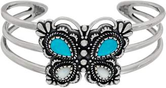 American West Sterling Silver Turquoise and Mother of Pearl Butterfly Cuff