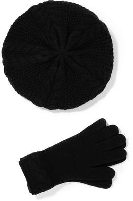 Portolano Cable-knit Cashmere Beret And Gloves Set - Black