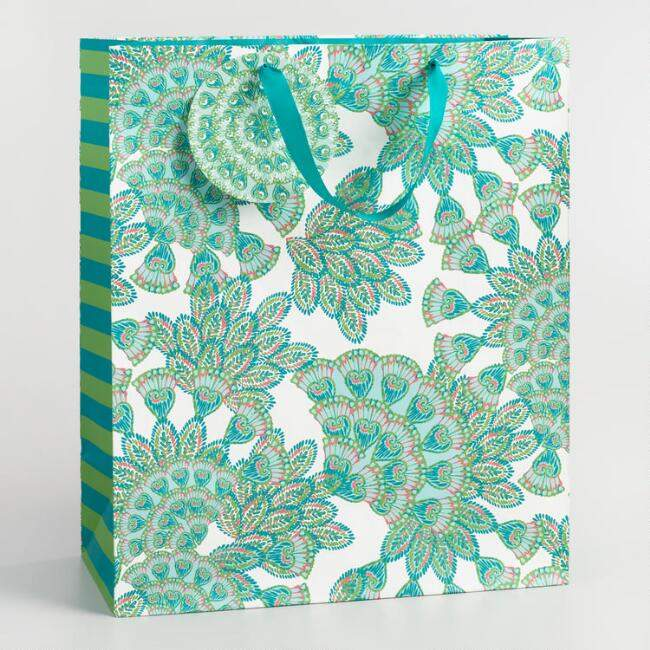 Jumbo Jungle Peacock Kraft Gift Bag