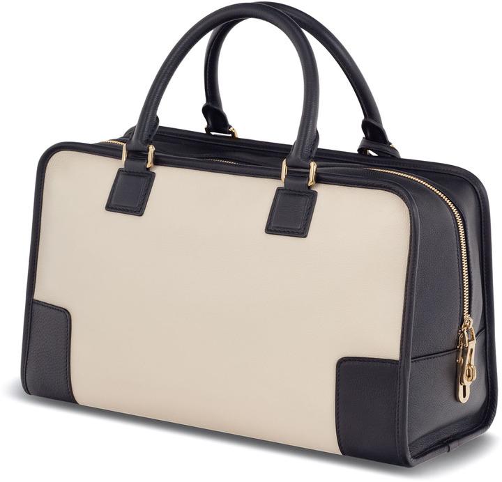 Loewe Amazona Leather Bag, Stone/Black