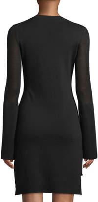 Theory Long-Sleeve Split-Cuff Merino Wool Dress