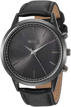 Steve Madden Men's Quartz Stainless Steel and Leather Dress Watch, Color: (Model: SMMW012BK-BK)