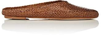 Barneys New York Women's Woven Leather Mules - Brown