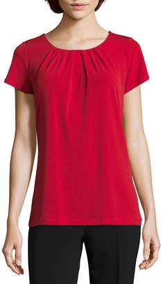 Liz Claiborne Short Sleeve Pleat Neck Tee - Tall