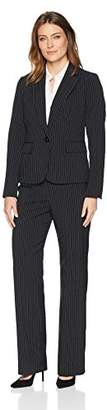 Le Suit Women's Pinstripe 1 Button Notched Collar Pant Suit
