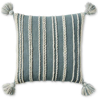 "Lucky Brand Chain Stitch Stripe 22"" x 22"" Decorative Pillow, Created for Macy's Bedding"