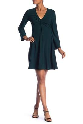 London Times V-Neck Front Twist Crepe Dress