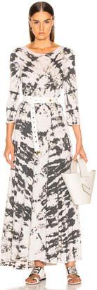Raquel Allegra Half Sleeve Drama Maxi Dress in Charcoal Tie Dye | FWRD